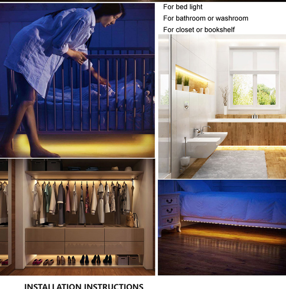Bed Light with Motion Sensor and Power Adapter, Under Bed Lamp Motion Activated LED Strip Night Light for Baby room Stairs Cabin