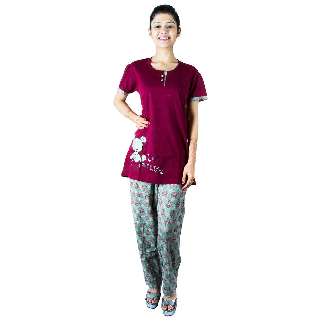 Elevanto Hoiser Cotton Printed Maroon Merger Night Suit