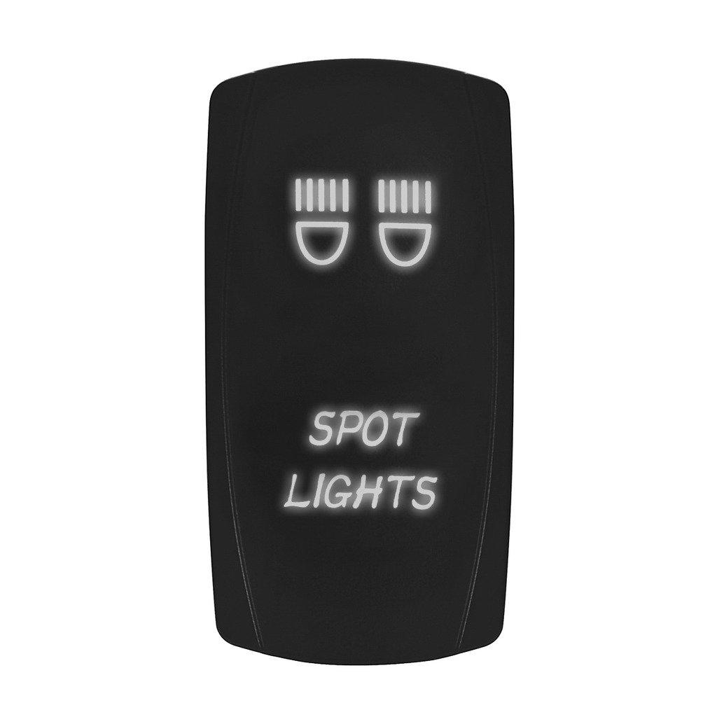LED Backlit Rocker Switch,Eyourlife Marine Toggle Switch Spst Spot Light Bar Rocker Switch ON-OFF LED Light 20A 12V, 5pin, WHITE
