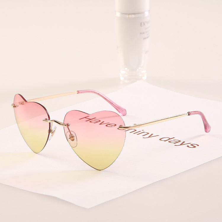 Super Nice Cool Fashion Heart Shape Sunglasses 2015 New women Cool Eyewear No frame Metal Leg glasses Oculos De Sol J152 BR
