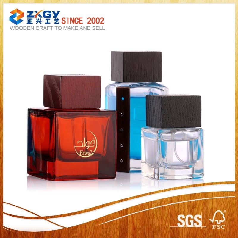 2014 Best selling items black perfume bottle wooden lids