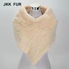 2019 Thick Knitted Real Rex Rabbit Fur Poncho Women Winter Fur Shawl Lady Wholesale / Retail