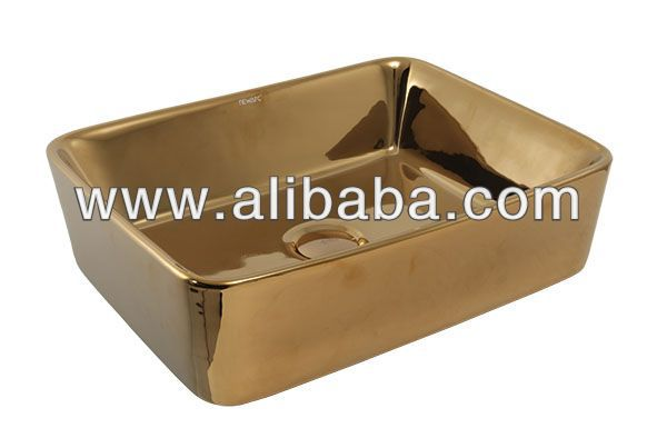 Gold Silver Square Countertop Sink