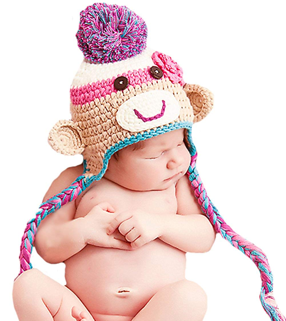 Melondipity's Colorful Fun Girl's Sock Monkey Hat - Crocheted Winter Baby Hat