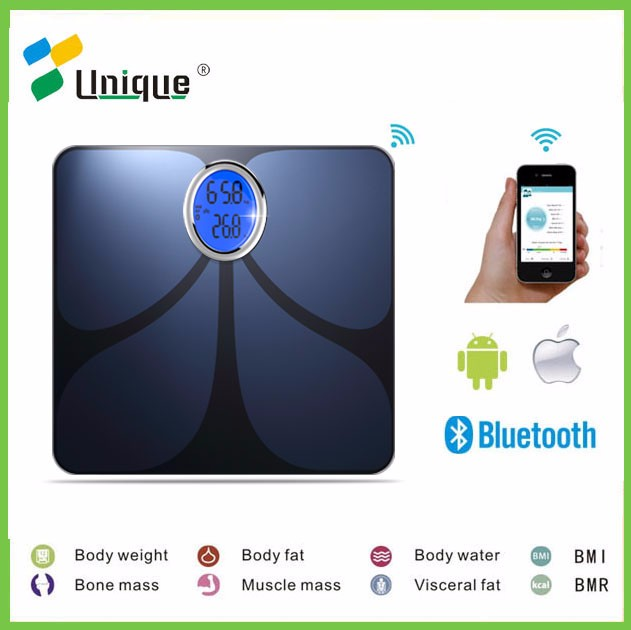 180kg Wifi smartphone tracking body composition bmi fat analyzer scale hydration level
