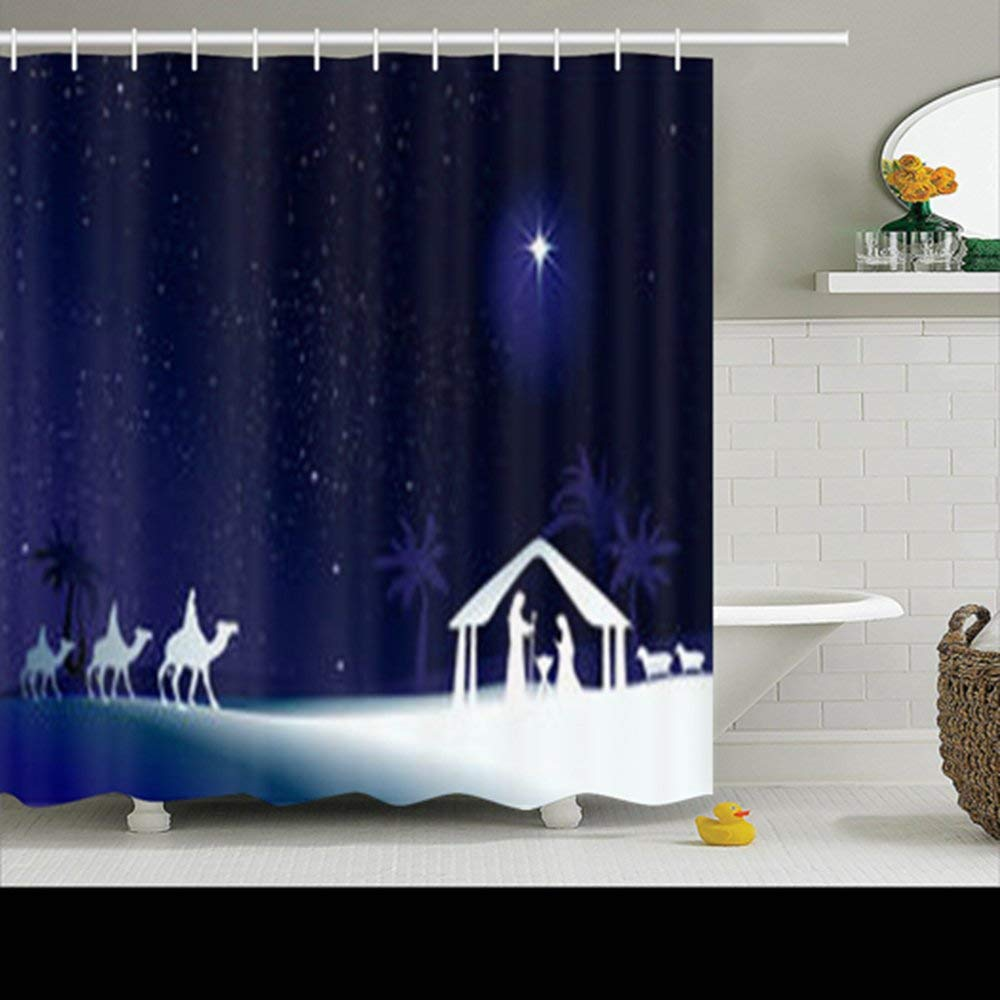 Shower Curtains Design Christmas Nativity Scene Holy Family Jesus 72x72 Inches Home Decorative Waterproof Polyester Fabric Decor Bathroom Bath Curtain