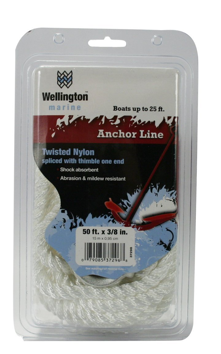 Wellington N1824U0050 Twisted Nylon Anchor Line, 3/8 by 50-Foot