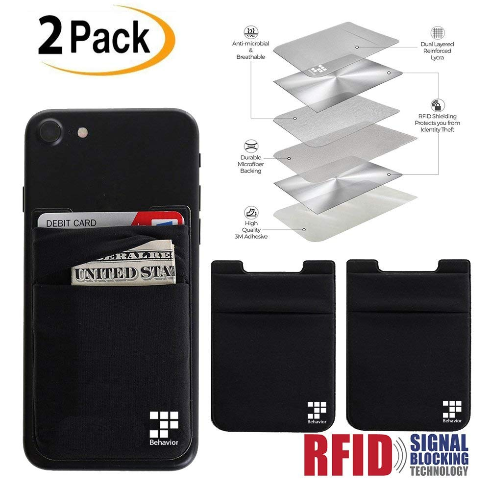 [2pc] Phone Card Wallet - Ultra-slim Self Adhesive Double Secure RFID-Blocking Phone Pocket,Credit Card Holder Sleeves Phone wallet sticker For All Smartphones (Black)