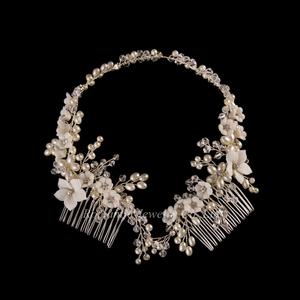 New Product Handmade Vintage Pearl Crystal Stone Wedding Bridal Headpiece Hair Accessories
