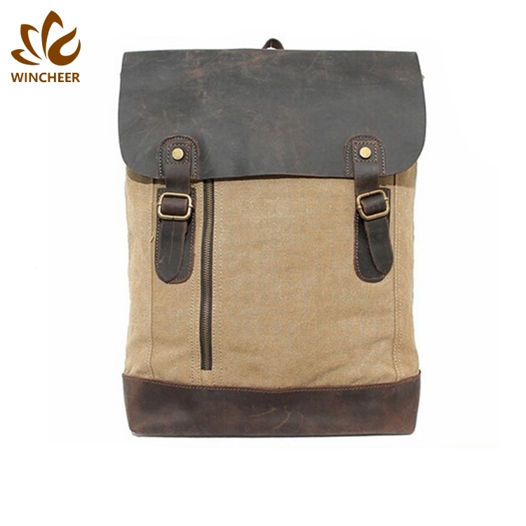 Multi colors fashion handmade high school custom canvas laptop backpack with leather trim