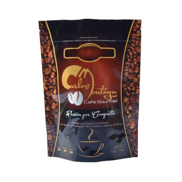 Food grade matt black surface coffee bag with valve foil ziplock coffee pouch