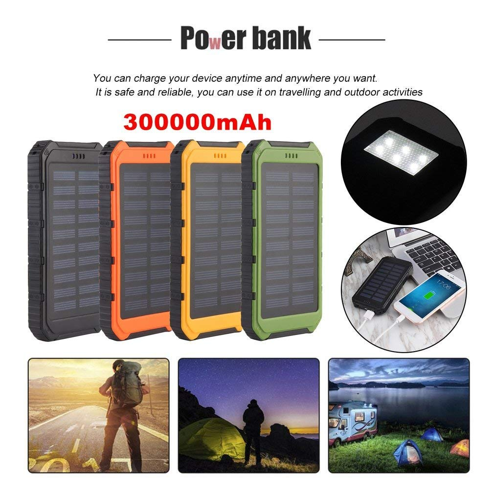 Portable Dual USB Port Waterproof Solar Power Mobile Phone Power Bank 300000mAh Waterproof External Battery Charger