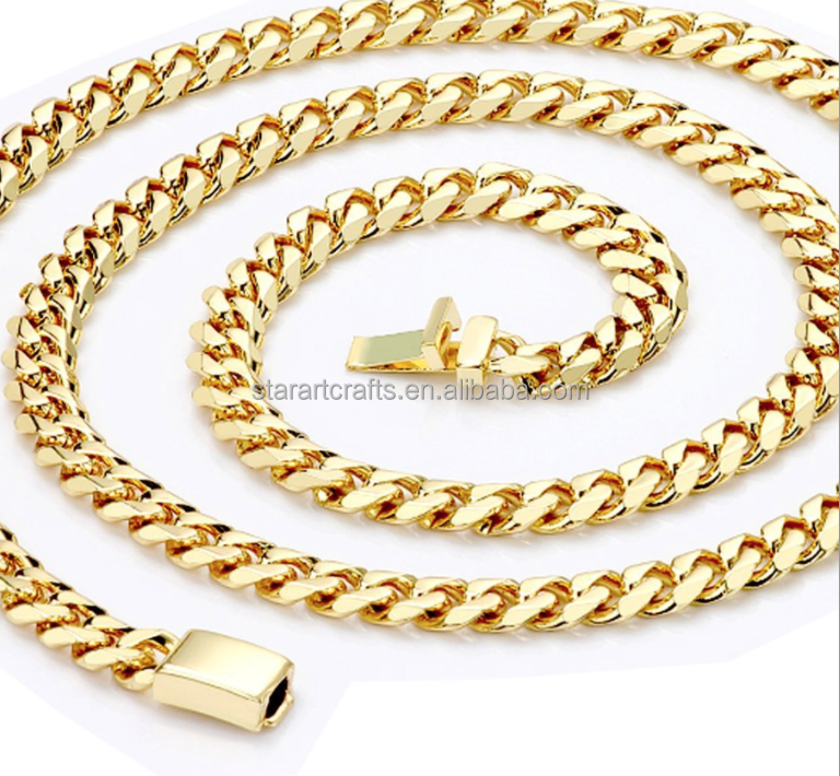 14mm Hip Pop Cuban Link Chains Stainless Steel Cuban Chain 14K Gold Plated Heavy Men Necklace Chain