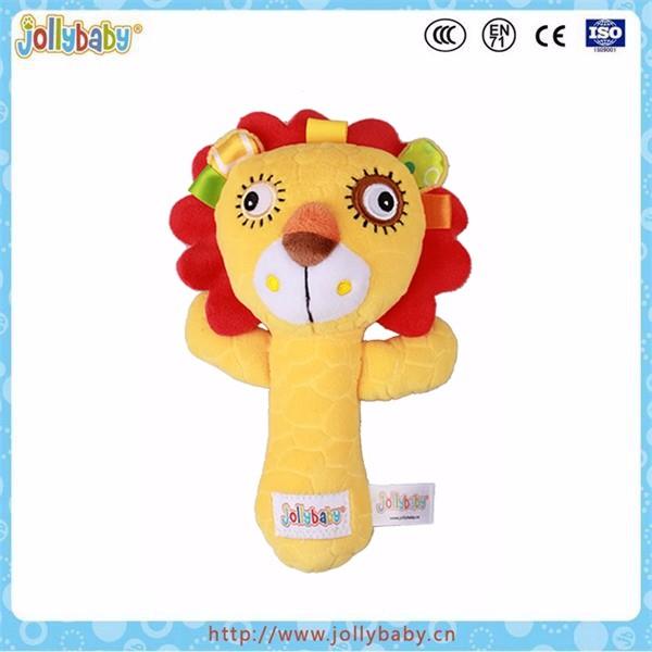 Jollybaby new design lion plush hand rattle stick best baby toys