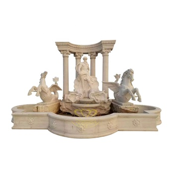 Outdoor stone garden products Marble Poseidon statue fountain