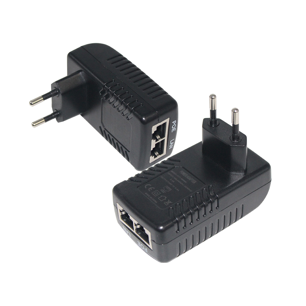 Power Over Ethernet 12V 24V 48V 0.5A PoE Injector with US EU UK AU 2pin Plug