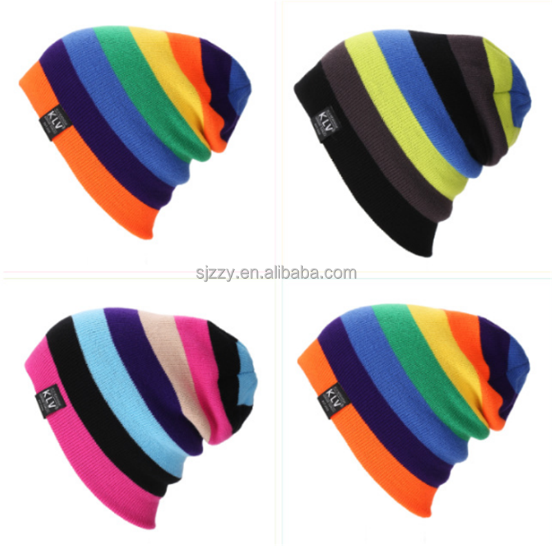 Colorful Hip Hop Beanies winter reflective knit hat from alibaba store