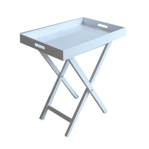 White Color Coffee Table Removable And Foldable Tray Table Serving Table