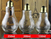 best price Unique Glass juice bottle 150ml 200ml 300ml 400ml 500ml bulb light bottle with staw