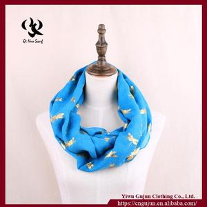 New Female Blue Scarf Fashion Woman Autumn Dragonfly Infinity Scarves Nice Spring Loop Shawl
