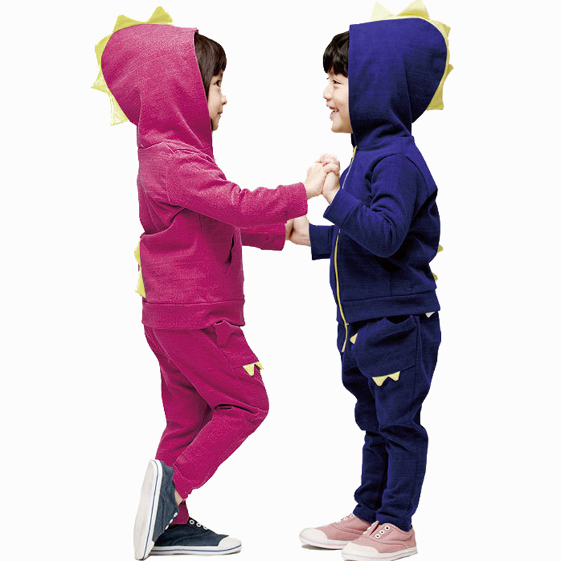 f1972639a Get Quotations · 2015 New Kids Sport Suit Boys and Girls Clothing Sets  Dinosaur Hooded Jackerts Trousers Kids Tracksuit