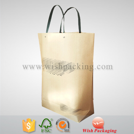 2mm width paper handle customized no gusset kraft paper bag