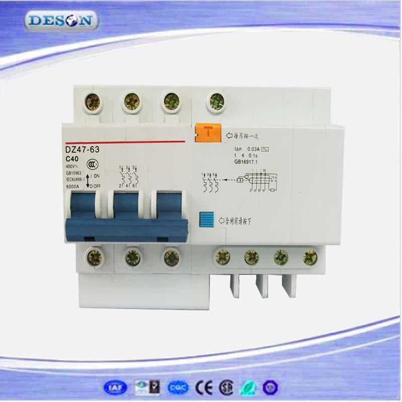 DZ47LE MCB 3 Poles N Miniature Circuit dz47le mcb 3 poles n miniature circuit breaker elcb 6a 10a 16a 20a Residual Current Device 6 Pole at edmiracle.co