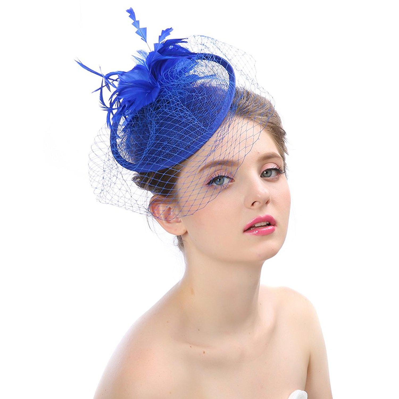 7f6354d1d60e6 Get Quotations · BessWedding Fascinator Hats Pillbox Hat Flower Veil Wedding  Hat Tea Party