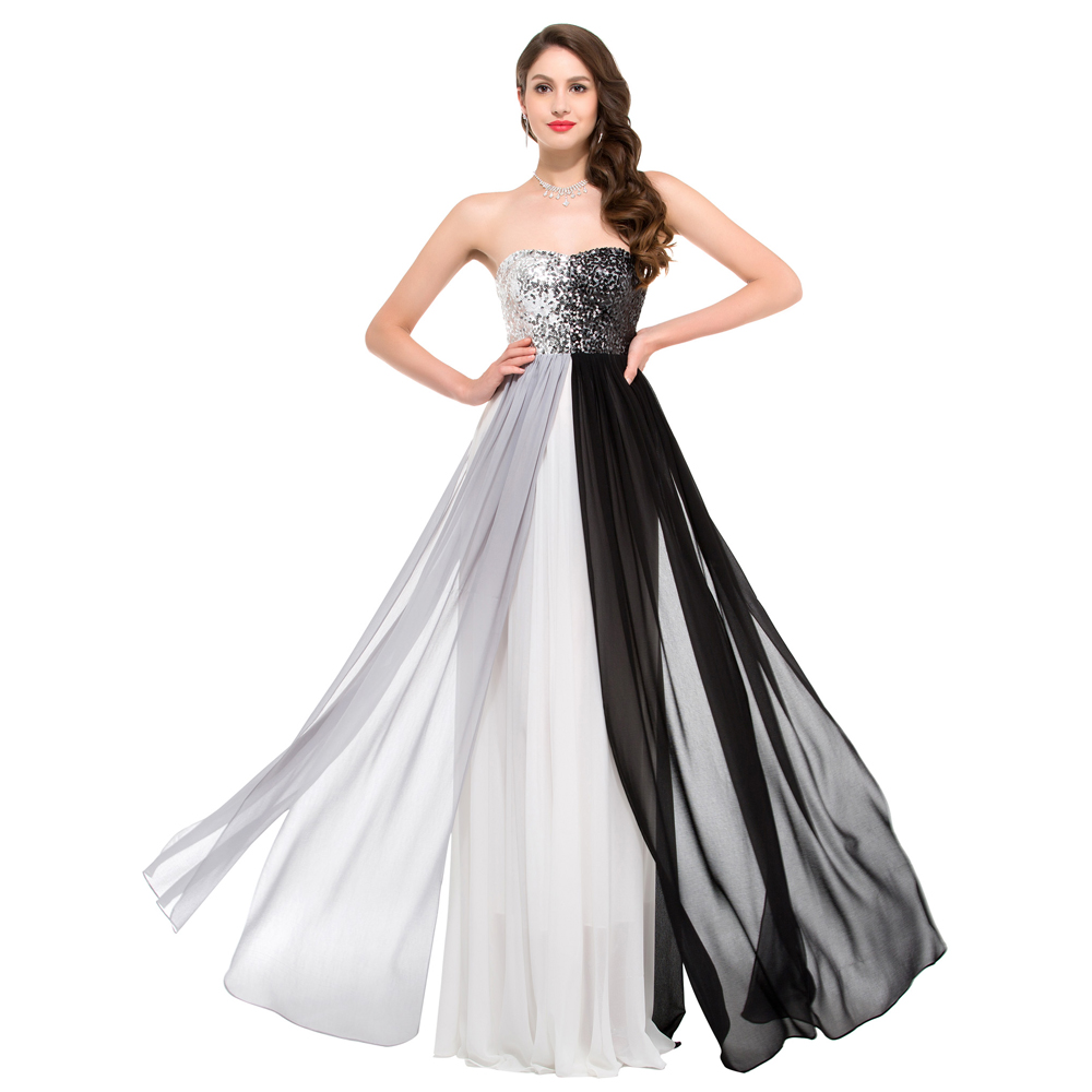 Buy Special Designer Sparkly Long Sequins Prom Dresses Black Grey ...