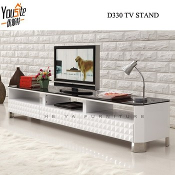 Stainless Steel Legs Wooden Curved Tv Stand