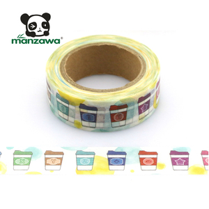 10m Bright Colorful Coffee Cup Pattern Masking Paper Malaysia Washi Tape For Decoration