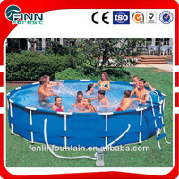 Outdoor metal frame pool above ground plastic swimming pool