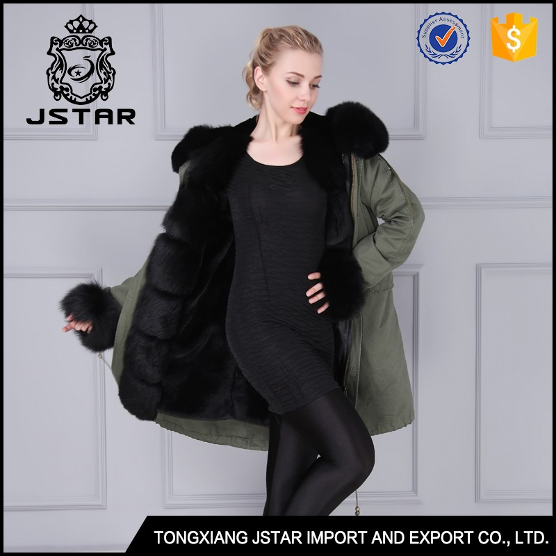 Factory price couple style long black fur hooded parka