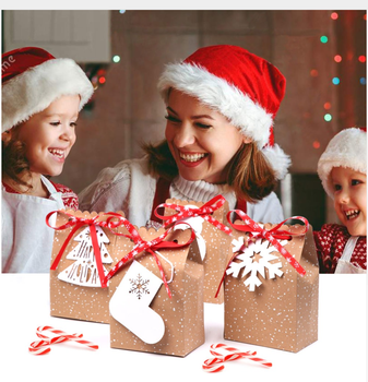 2019 New Products Kraft Christmas Paper Gift Bag Good Quality Christmas Box with Ribbon