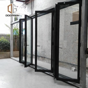 Factory Supply Thermal break profile Folding window and Door Break Accordion Tempered Glass Bifold