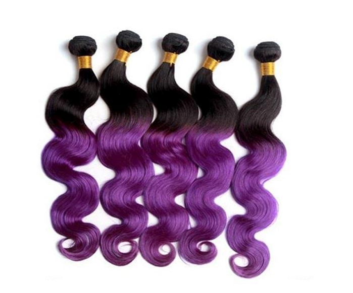 Two Tone Color Dark Brown And Pastel Purple Ombre Hairbrazilian