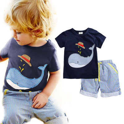 Summer Kids Boys Clothes Short Sleeve Whales T-shirt+Striped Shorts Suit Set New