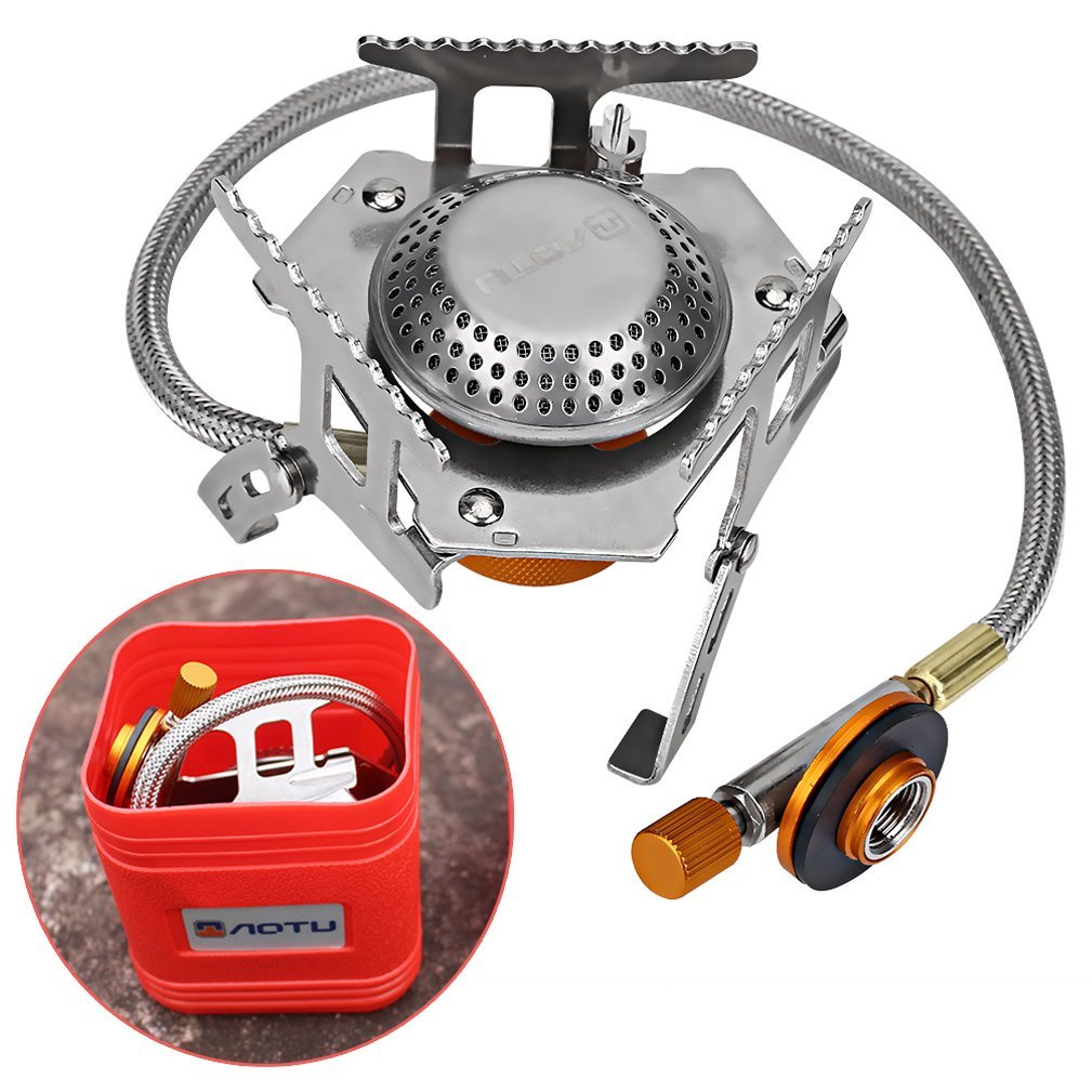 Folding Camping Gas Stove, 3500W Portable Hiking Picnic Cookout Gas Stove Furnace Split Burner Cookware Cooker Cooking Equipment