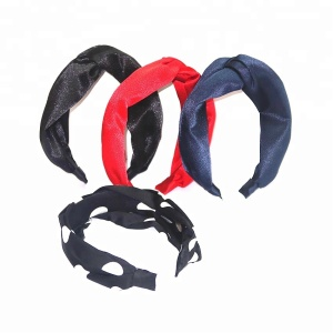 Elegant Satin Fabric Covered Girls Plastic Hair Hoop Fashion Korean Style Hair Band Accessories Knotted Headband for Women
