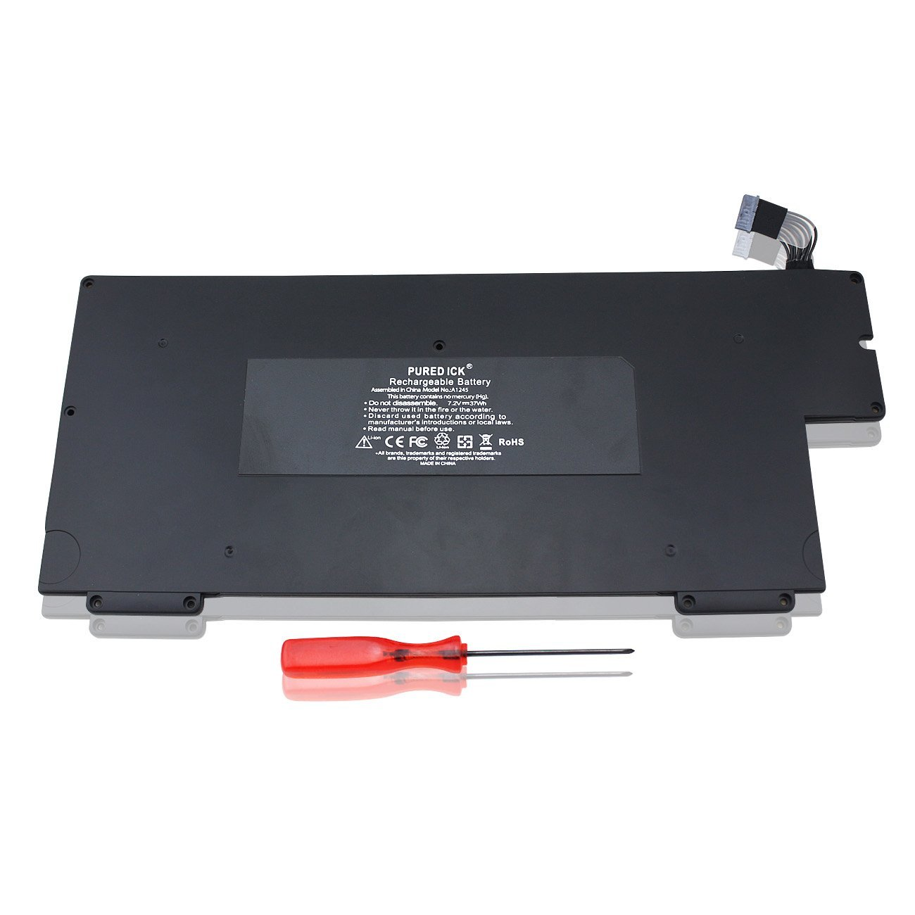"""Puredick® New Apple MacBook Air 13 Inch Battery A1245 A1237 A1304, Apple MacBook Air 13"""" MB003 MC233 MC234 MC503 MC504, 661-4587 661-4915 661-519 - 12 Months Warranty [Li-Polymer 4-cell 7.2V 37Wh]"""