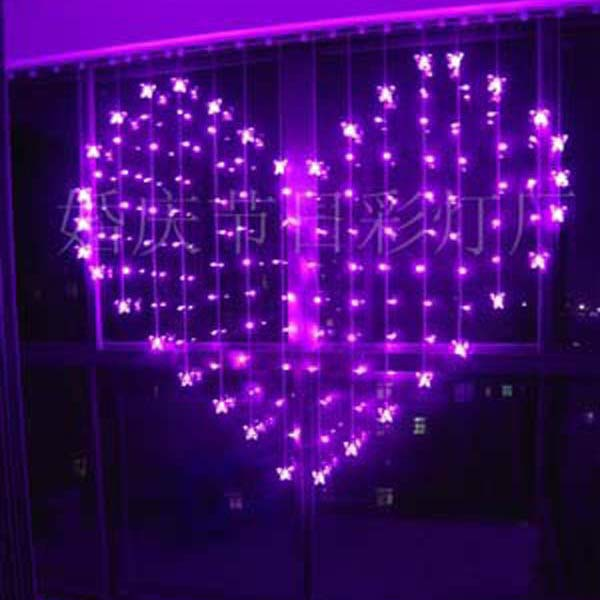 2 X 1.5m Heart Shape 128 SMD 34 Butterfly Multicolor LED String Holiday