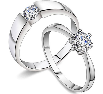Popular Cz Wedding Ring Sets For Him And Her 14k White Gold Plated