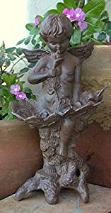 Large Cast Iron Garden Winged Angel Statue Cherub Bird Feeder