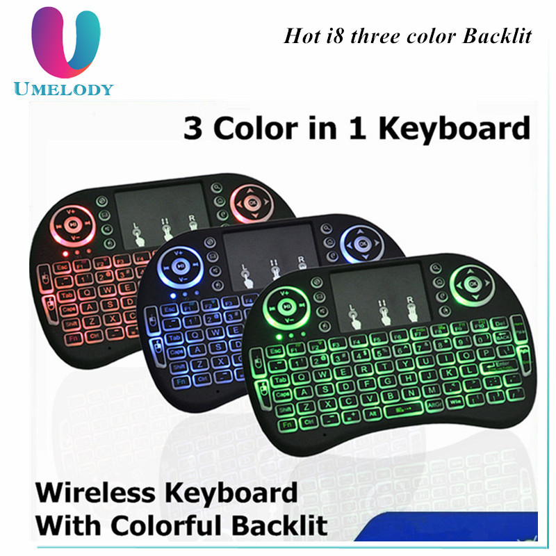 I8 Backlight Versie i8 Backlit 2.4G Draadloze Remote Fly Air muis met Qwerty-toetsenbord Touchpad voor PC Android TV BOX T95M