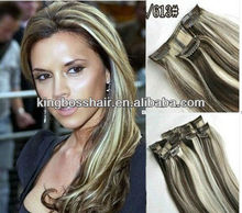 "two tone ombre 18"" 7 Pc Brown and light blonde blend 4/613 Remy Clip Human Hair Extensions"