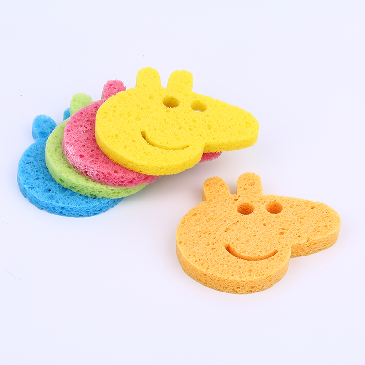Most popular natural wood pulb cotton cellulose facial sponge face cleaning sponge