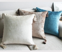 Decorative Lumbar Tassel Pillow Textured Woven Tassel Pillow