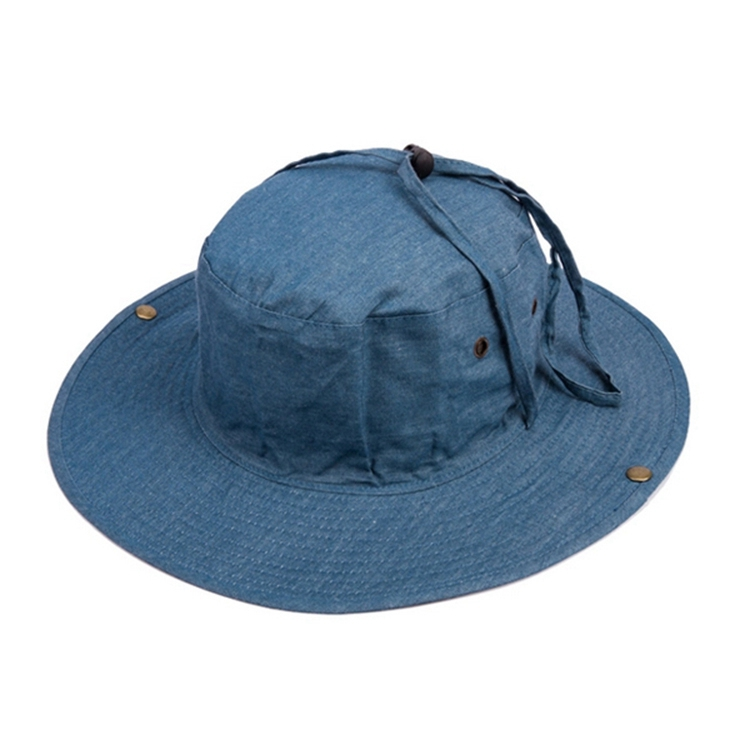 custom cotton canvas men bucket hat with string