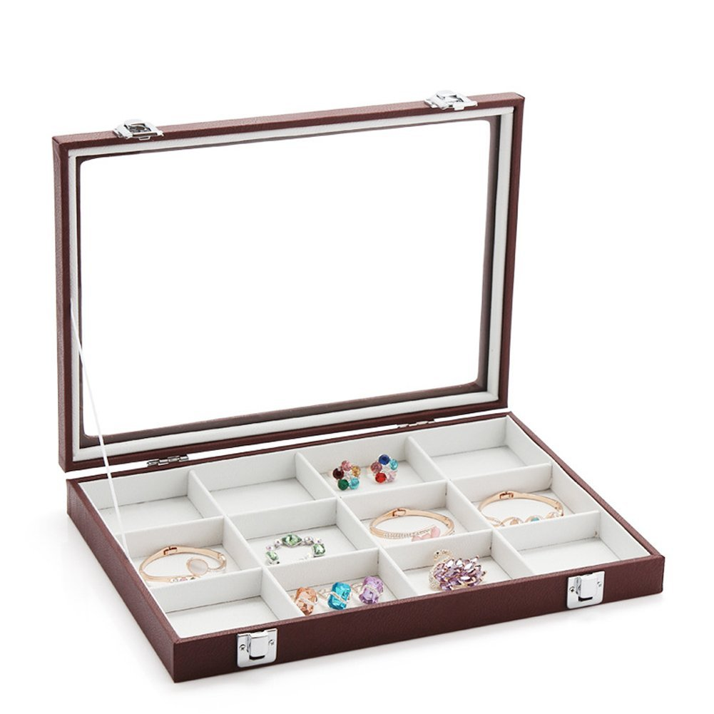 Tagoo Velvet Jewelry Display Showcase Box Glass Top Lockable Organizer Holder Stand for Rings Necklaces Bracelets Brooches Cuff Links 2 Colors (12-Slot, Burgundy)