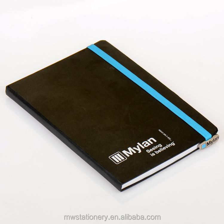 Black PU leather Cover Printed Paper Notebook with Rubber Band